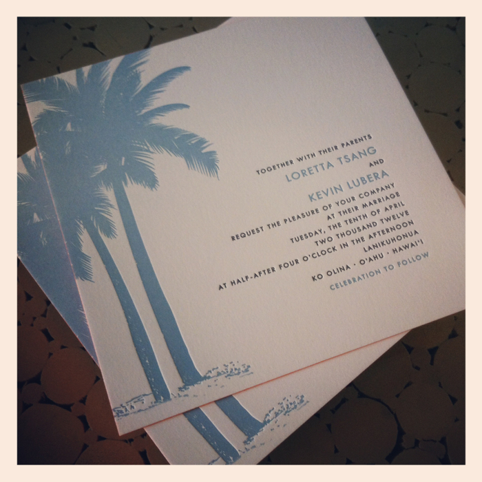 hawaii wedding invitations - custom letterpress stationery - honolulu,
